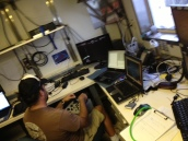 Scientist, Eric Mooney, operates our ROV during its deployment using the live feed and the joy stick.