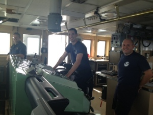 Teamwork: NOAA Corps officers on the bridge