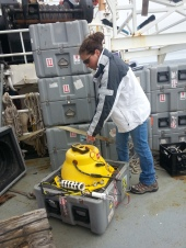 This is Genevieve programing one of the MARUs getting it ready to go into the ocean.