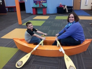 My nephew Connor and I practicing our rowing skills. (Photo: Mel Meagher)