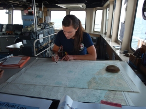 Even though the ship documents all the movements electronically, it is very important to still record the ship's path on paper.    ENS Felicia Drummand records the location.