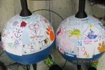 The two Drifter Buoys all decorated with the cool stickers my biology students and my daughter's class made.