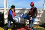 Getting ready to deploy the first Drifter Buoy.