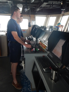 OPS  LT Colin Kliewer and ENS Conor Maginn controlling the ship's movements