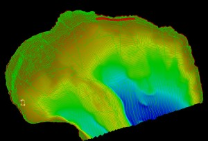 In this photo, the area without highlighting (red) shows how much surveying one boat does off the small boat in shallow water.  The shallower the water, the more time consuming the survey becomes.