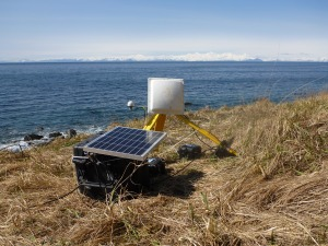 In this picture you can see a GOES satellite antenna and a GPS antenna that helps us determine our precise location.