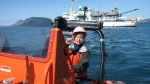 Jim Kruger, Chief Boatswain, makes maneuvering the fast rescue boat look a lot easier than it is.