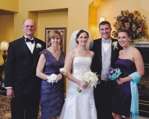 Family at daughter Amanda's wedding