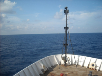"""Our closest neighbor,  the ship named """"Joanna""""(look closely on the horizon)."""