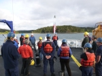 """Ship motto """"Teamwork, Safety First,"""" is followed and an operational risk assessment completed by all at the morning safety meeting."""