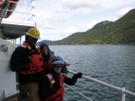 The fateful moment when I lost my blue helmet during a man overboard drill.