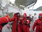 Safety first:  here I am with Lindsey Houska in our full immersion suits.