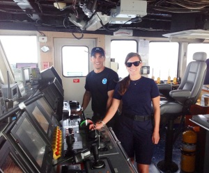 John and Junior Officer Felicia Drummond on the bridge of the Nancy Foster for a morning of navigation.