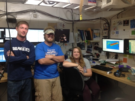 Mapping science crew aboard the Nancy Foster.  From left to right:  Freidrich Knuth, Nick Mitchell,Kayla Johnson.  Not pictured - Samantha Martin.