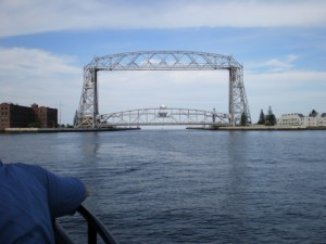 Duluth's Aerial Lift Bridge and Canal.  From here its just a travel through five Great Lakes and the St. Lawrence Seaway into the Atlantic Ocean.