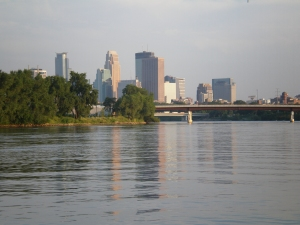 The Mississippi River in downtown Minneapolis; I have almost a daily encounter with this majestic river.