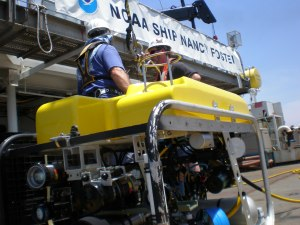 The ROV on the deck of the Nancy Foster shortly before launch.