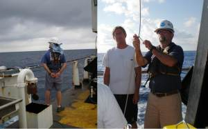 ROV pilots Lance Horn and Jason White.  On the left, Lance surveys the ocean 'shall we launch the ROV or not?' - or perhaps we is just thinking deep thoughts.  On right, Lance and Jason preparing the cable prior to dive.