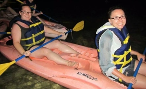 Last month I kayaked in a bioluminescent bay near Fajardo, Puerto Rico. I shared a kayak with my friend Megan, right.