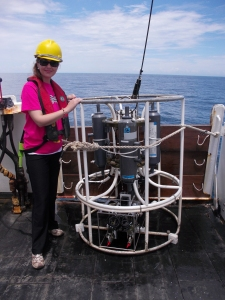 This is me standing by the Conductivity, Temperature, and Depth Measuring Device.