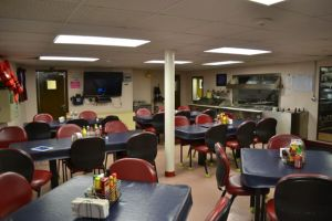 "This is a photo of the ""galley."" It is the name of the place on board where we eat our meals."