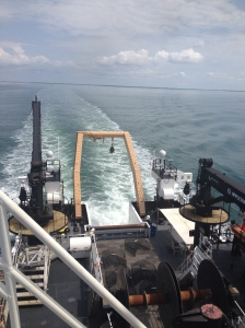 Looking down from the top deck of the Pisces.