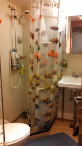 Our stateroom's private bath. Could that shower curtain be any more fitting?!