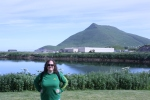 Kacey standing in front of Mt. Ballyhoo in Dutch Harbor, Alaska. (Photo Credit: Greg)