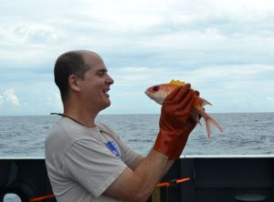 Kevin McMahon trying to figure out why this creature is called a squirrelfish. Credit: Adria McClain