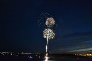 The best view of the Morehead City,NC  fireworks show was from the deck of the Pisces.