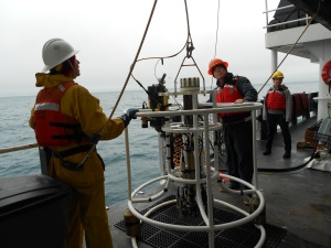 Prepping the CTD for deployment into the sea
