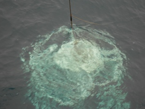 The CTD is entering the water