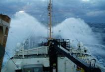 Waves crashing on the bow of the Oregon II