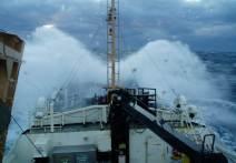 Waves crashing on the bow of the Oregon II