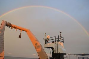 Rainbow as seen from the stern of the Pisces.