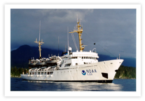 NOAA ship Rainier, named for Mt. Rainier - a volcanic cone in Washington state that rises 14,410 feet above sea level.  Photo courtesy of NOAA.
