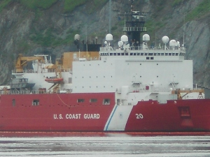 U.S. Coast Guard Ship Healy docked at the Spit.