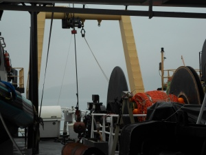 This is the stern of the boat where the trawl net gets released into the ocean.