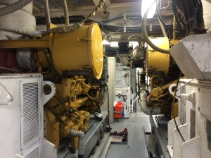 Two of the ship's engines