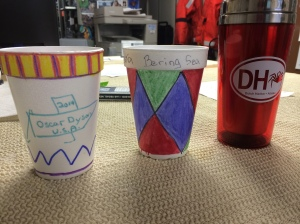 Two cups I decorated before deploying into the ocean.
