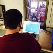 Matthew Poti annotates images for future data analysis.
