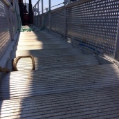 Rounded stairs on the gangplank to adjust to rising tides.