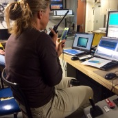 Dr. Christiansen uses video chat on my cell phone to safely complete the dive. Photo credit Matt Poti.