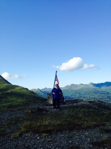 Me, atop Old Woman's Mountain, Kodiak Island, Alaska.  (Courtesy of ENS Micki Ream)