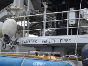 As seen from the fantail (back of the ship) - TEAMWORK!  SAFETY FIRST!