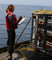 Before and after each dive, TowCam stats must be recorded. Then we can bring in the camera and see what's inside.