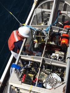 The crew prepares TowCam for the first test run.