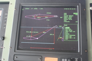 The ITI screen located on the Bridge that allows us to see how far behind the boat and at what depth the net is located.