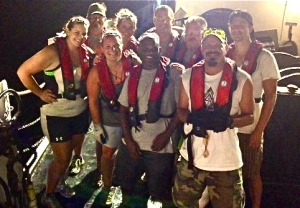 The day crew pictured at night