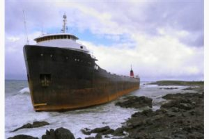 This MV Miner ran ashore on these rocks on its way from Montreal to Turkey in 2011.  This is one thing NOAA hopes to prevent with updated nautical charts from hydrographic surveys.  (Courtesty of Canada's  TheStar.Com)